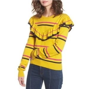 BP Nordstrom Fitted Stripe Gold Ruffle Sweater S